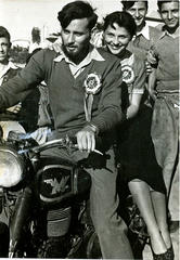 Editor of Haolam Hazeh, 1951, at motorcycle rally