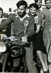 Editor of Haolam Hazeh, 1951, at motorcycle rally